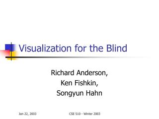 Visualization for the Blind