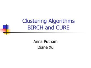Clustering Algorithms BIRCH and CURE