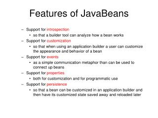 Features of JavaBeans