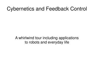 Cybernetics and Feedback Control
