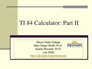 TI 84 Calculator: Part II