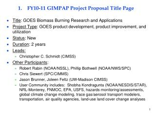 FY10-11 GIMPAP Project Proposal Title Page