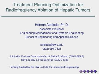 Treatment Planning Optimization for Radiofrequency Ablation of Hepatic Tumors