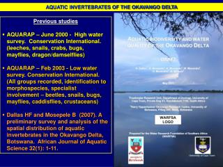 AQUATIC INVERTEBRATES OF THE OKAVANGO DELTA