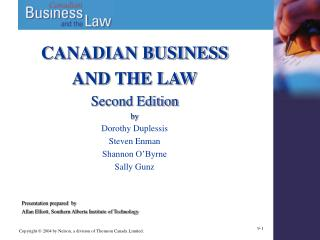 CANADIAN BUSINESS  AND THE LAW Second Edition by