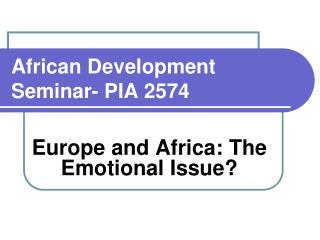African Development Seminar- PIA 2574