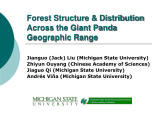 Forest Structure & Distribution Across the Giant Panda Geographic Range