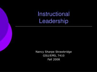 Instructional  Leadership