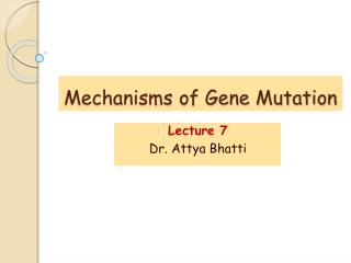 Mechanisms of Gene Mutation