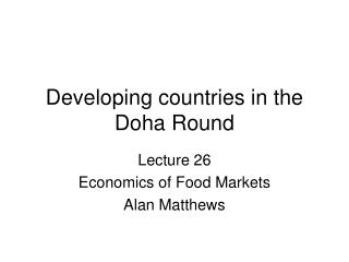 Developing countries in the Doha Round