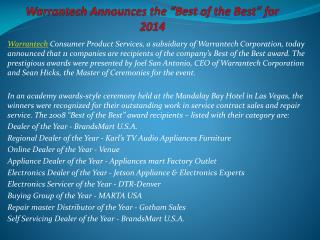 "Warrantech Announces the ""Best of the Best"