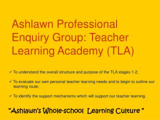 Ashlawn Professional Enquiry Group: Teacher Learning Academy (TLA)
