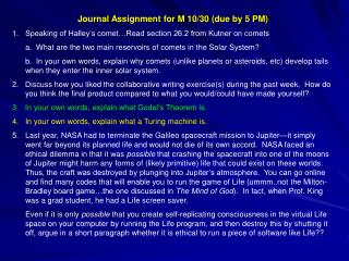 Journal Assignment for M 10/30 (due by 5 PM)