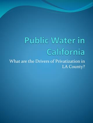 Public Water in California