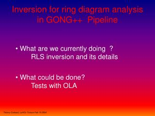 Inversion for ring diagram analysis in GONG++  Pipeline