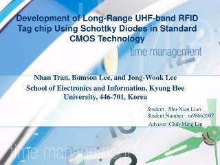 Development of Long-Range UHF-band RFID Tag chip Using Schottky Diodes in Standard CMOS Technology