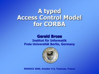 A typed  Access Control Model  for CORBA
