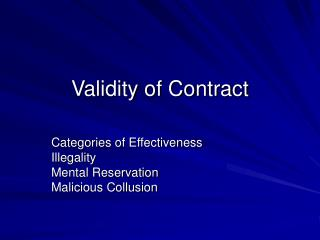 Validity of Contract