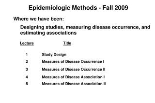 Epidemiologic Methods - Fall 2009