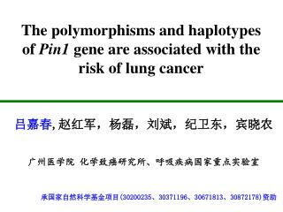 The polymorphisms and haplotypes of  Pin1  gene are associated with the risk of lung cancer