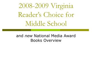 2008-2009 Virginia Reader's Choice for Middle School