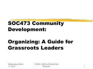 SOC473 Community Development: Organizing: A Guide for Grassroots Leaders