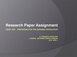 Research Paper Assignment
