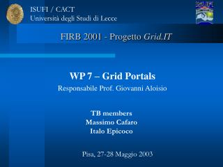 FIRB 2001 - Progetto  Grid.IT