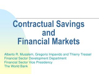 Contractual Savings and  Financial Markets