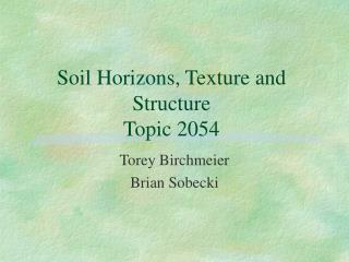 Soil Horizons, Texture and Structure  Topic 2054