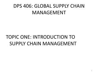 DPS 406: GLOBAL SUPPLY CHAIN MANAGEMENT