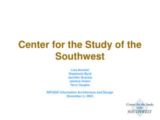Center for the Study of the Southwest