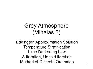 Grey Atmosphere (Mihalas 3)
