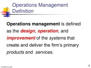 Operations Management D efinition