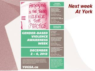 Next week At York