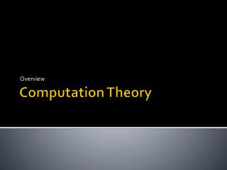 Computation Theory