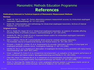 Manometric Methods Education Programme References