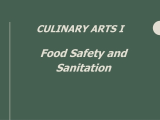 Food Safety and Sanitation