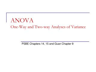 ANOVA  One-Way and Two-way Analyses of Variance