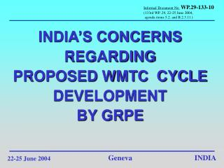 INDIA'S CONCERNS REGARDING PROPOSED WMTC  CYCLE  DEVELOPMENT  BY GRPE