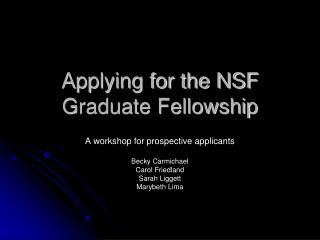 Applying for the NSF Graduate Fellowship