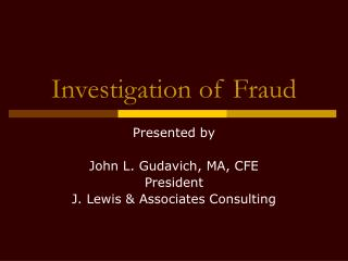 Investigation of Fraud