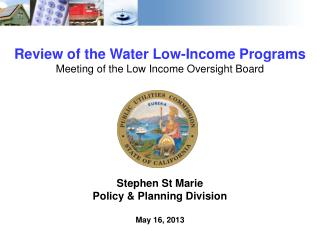 Review of the Water Low-Income Programs Meeting of the Low Income Oversight Board