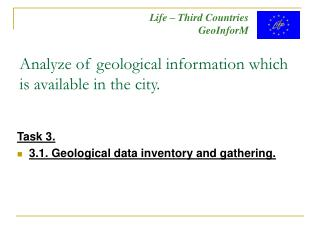 Analyze of geological information which is available in the city.