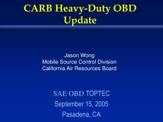 CARB Heavy-Duty OBD Update