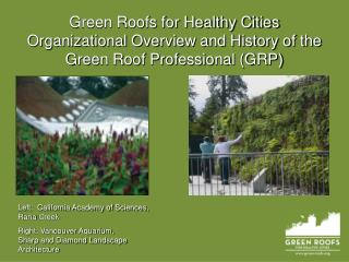 Green Roofs for Healthy Cities Organizational Overview and History of the