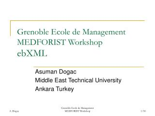 Grenoble Ecole de Management MEDFORIST Workshop ebXML