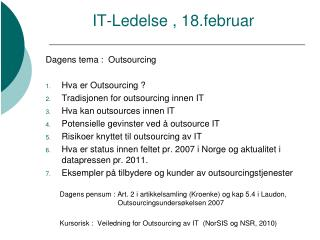 IT-Ledelse , 18.februar