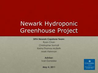 Newark Hydroponic Greenhouse Project