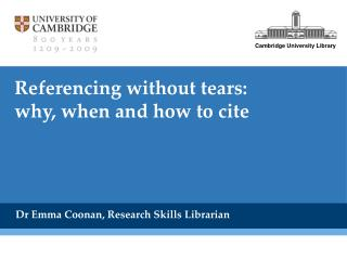 Referencing without tears:  why, when and how to cite